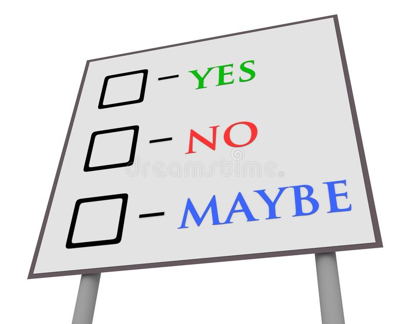 Yes No Maybe Sign Stock Illustration - Image: 53310300