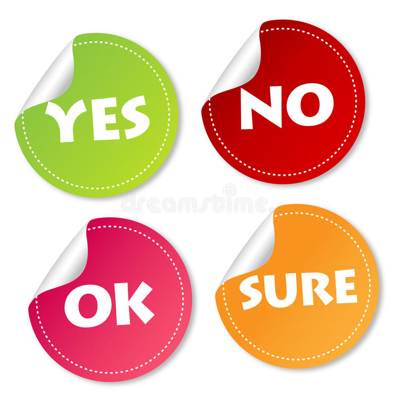 Yes, No, Ok and Sure stickers stock illustration