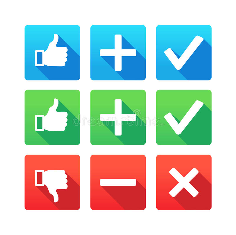 Download Yes, No, Plus, Minus, Thumbs Up And Down Stock Photo - Image: 33782854