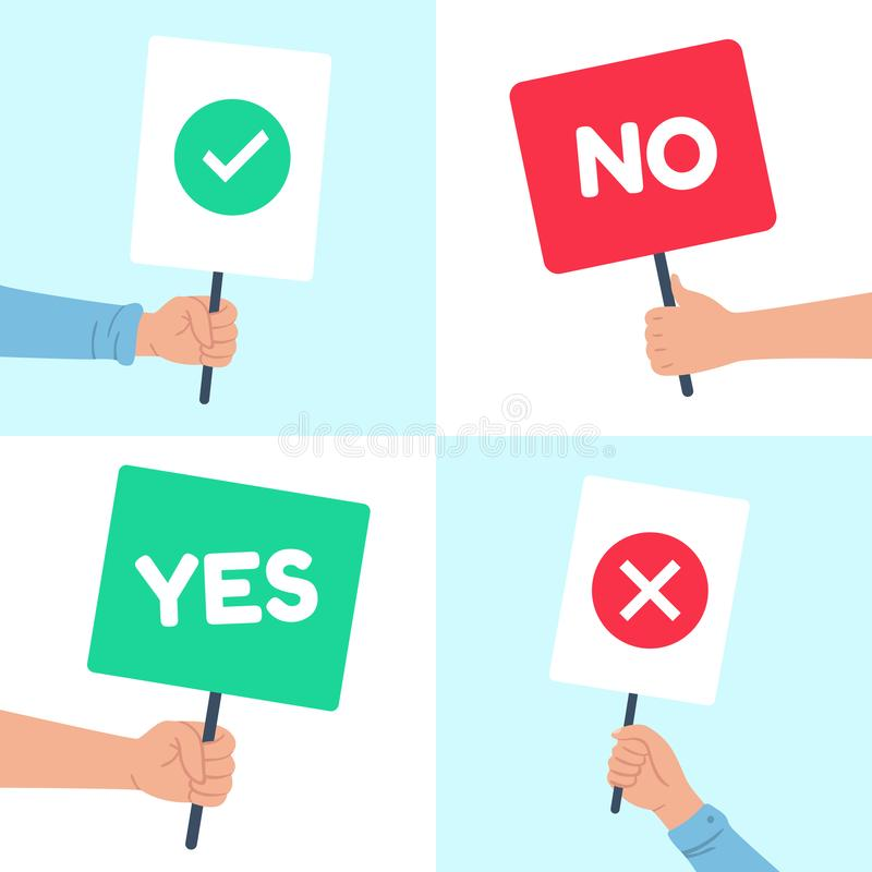 Yes no posters. Holding protest banner in hand, demonstration consent poster and denial strike banners vector royalty free illustration