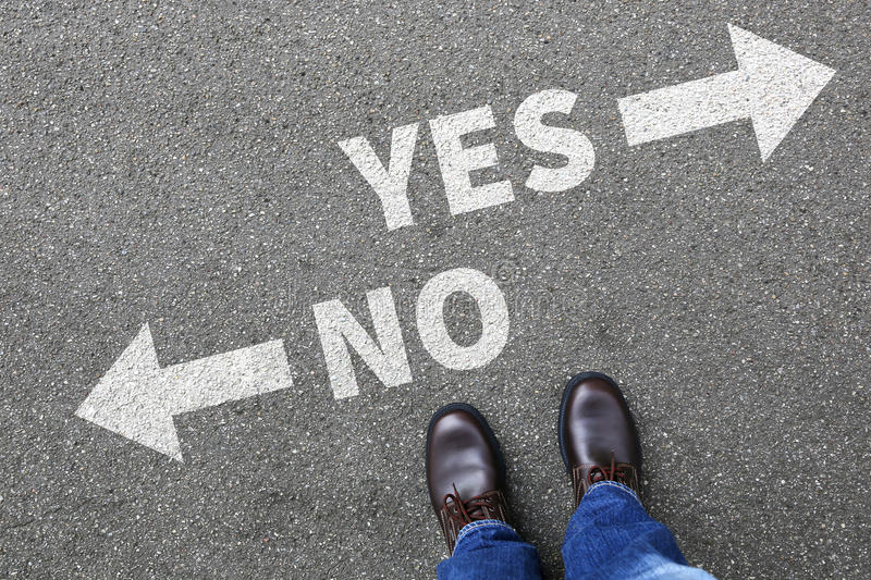 Yes no right wrong answer business concept indecisive solution d. Ecision decide choice royalty free stock image