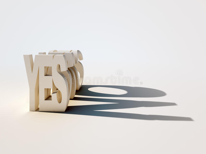 Yes-No shadow stock images