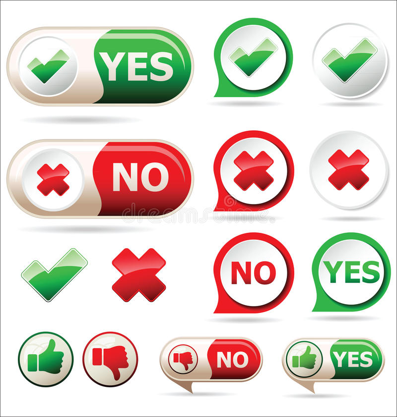 Yes and no sign of product quality and choice vector illustration