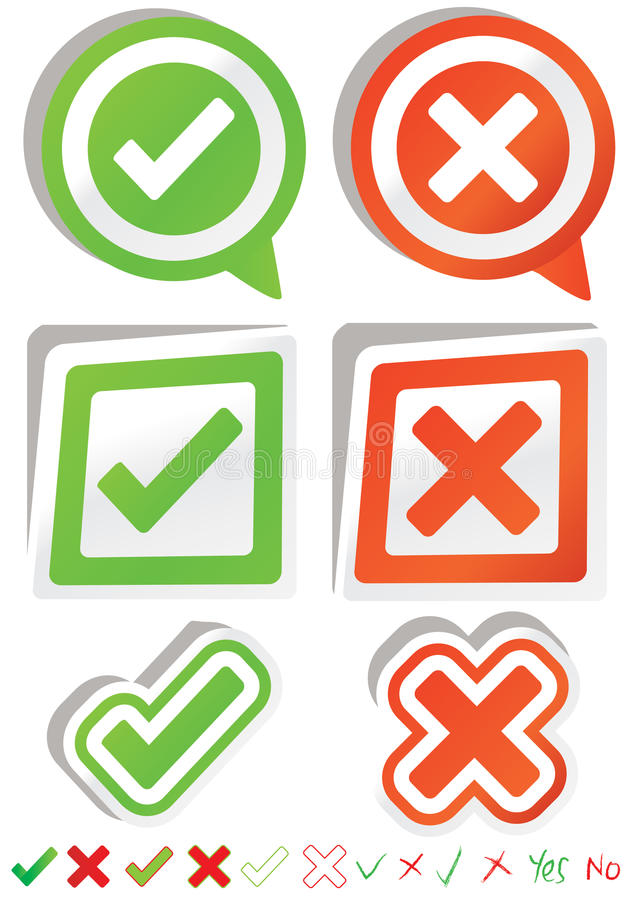 Yes No Stickers_eps stock illustration