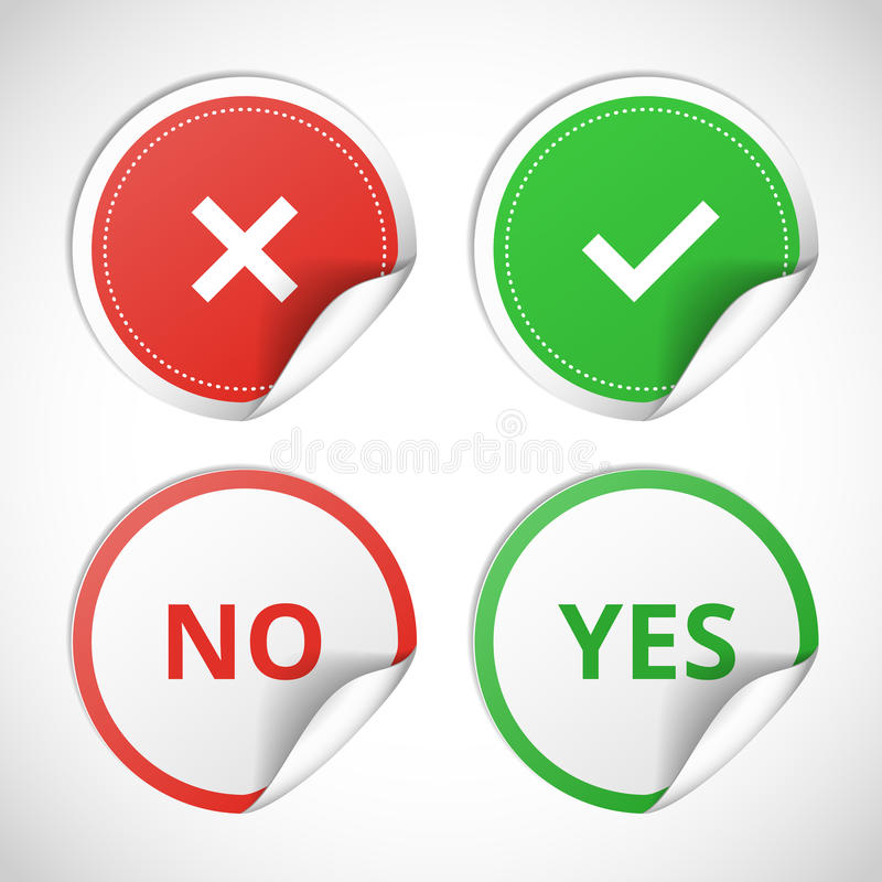 Yes and no stickers royalty free illustration