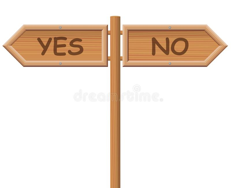 Yes No Street Sign Wooden Style stock illustration