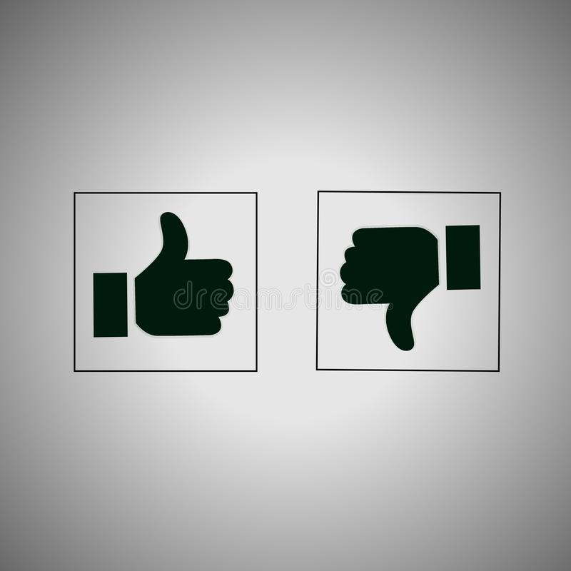 Yes and No. Thumb up and down icons,like and dislike buttons royalty free illustration