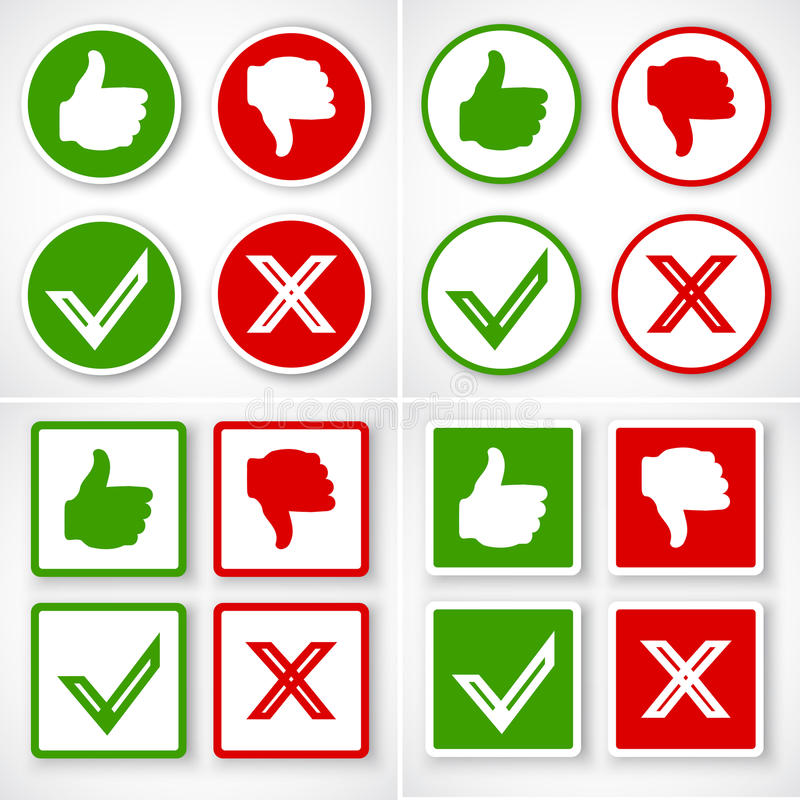 Yes, No, Thumbs up and down icons Like and unlike symbol. royalty free illustration