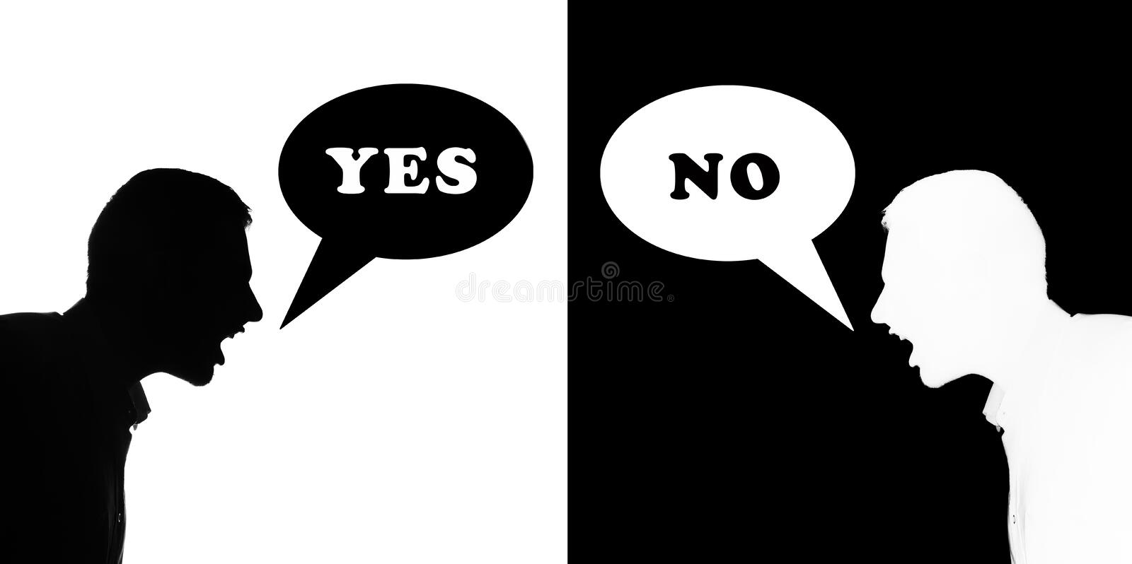 Yes & no. Two silhuette man quarrel each other, bubble text yes and no vector illustration