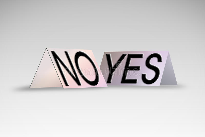 Yes and No written on colored cardboard vector illustration