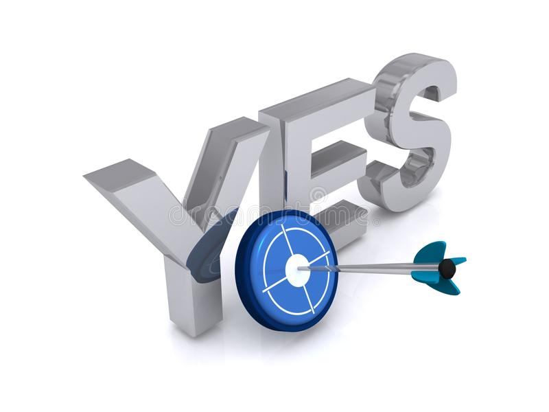 Yes Sign With A Target Stock Illustration