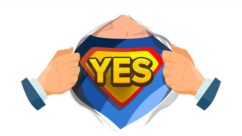 Yes Sign Vector. Superhero Open Shirt With Shield Badge. Isolated Flat Cartoon Comic Illustration royalty free illustration