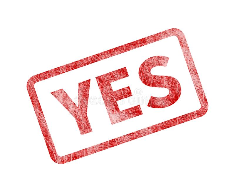 Yes Stamp - Red Grunge Seal stock illustration