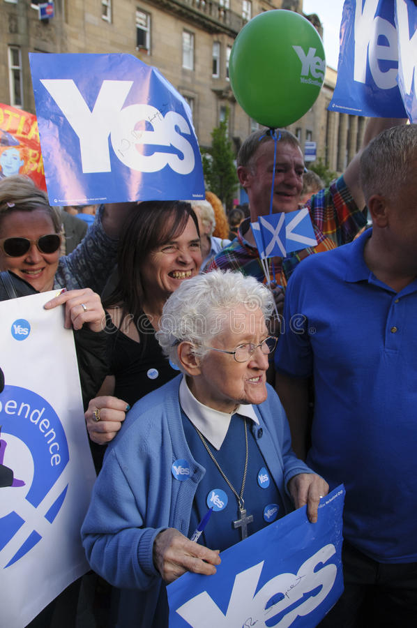 Yes supporter Scottish Indy Ref 2014. SCOTLAND Perth -- 12 Sep 2014 -- Sister Elizabeth Mannion waits to meet Scottish First Minister Alex Salmond during a royalty free stock photos