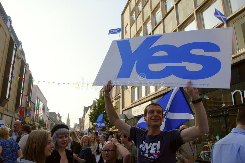 Yes supporter Scottish Indy Ref 2014 stock image