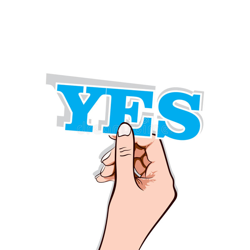 Download Yes text with hand stock vector. Illustration of sign - 27761355