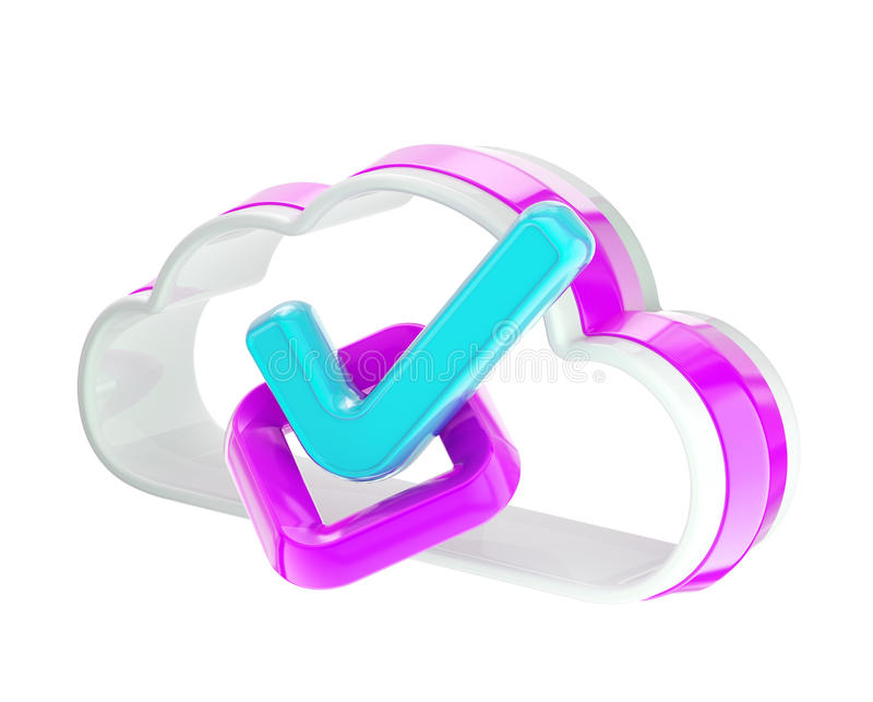 Yes Tick Inside Cloud Technology Icon Stock Photo