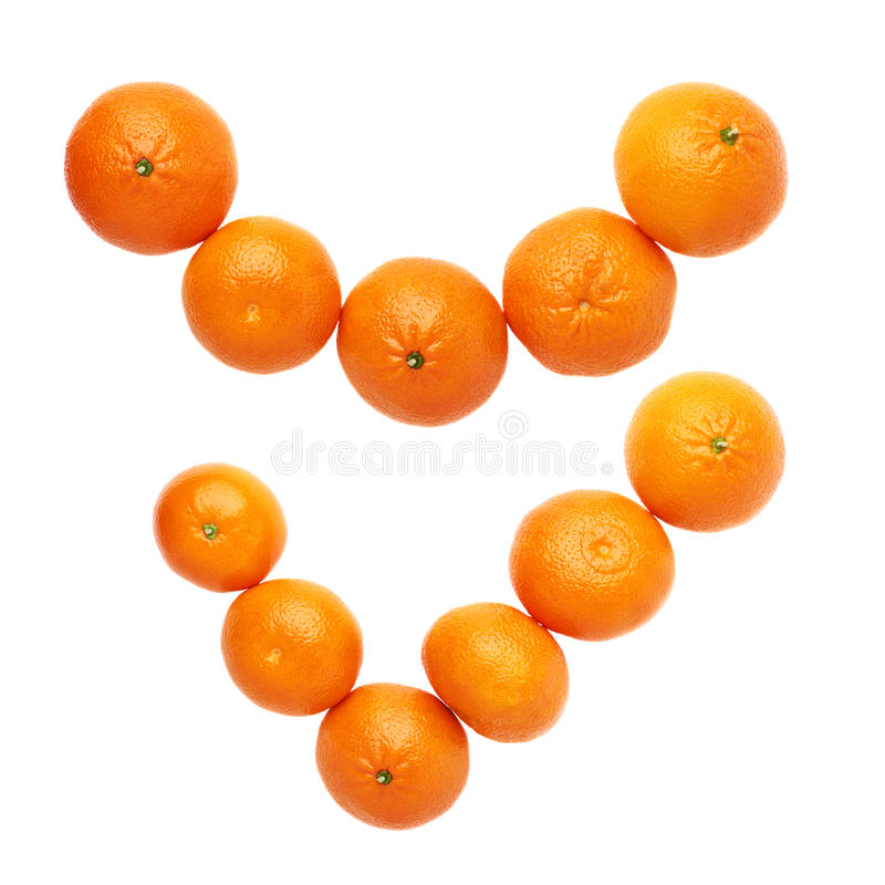 Yes tick mark made of multiple juicy tangerines isolated over the white background, top view. Yes tick mark made of multiple orange fresh juicy tangerines stock photography
