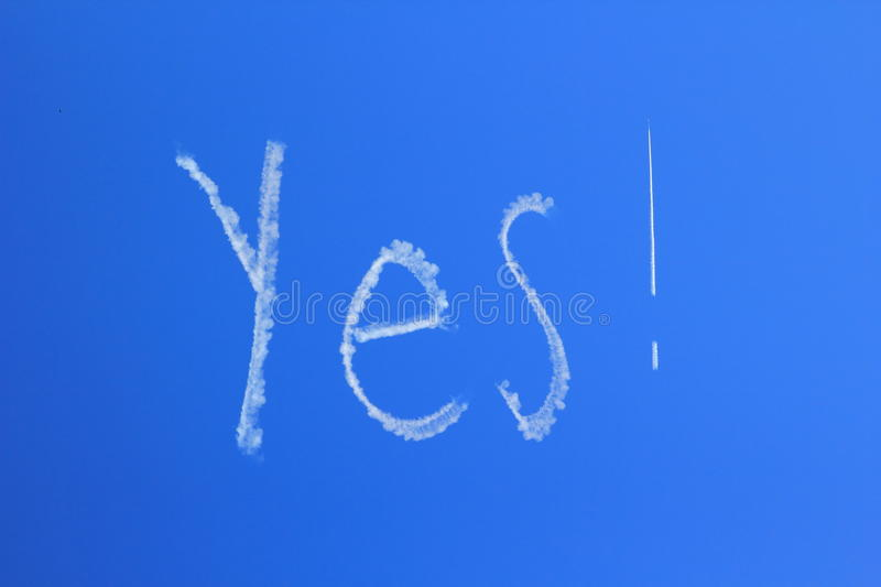 Download Yes Skywriting In Clear Blue Sky Stock Illustration - Image: 24072390