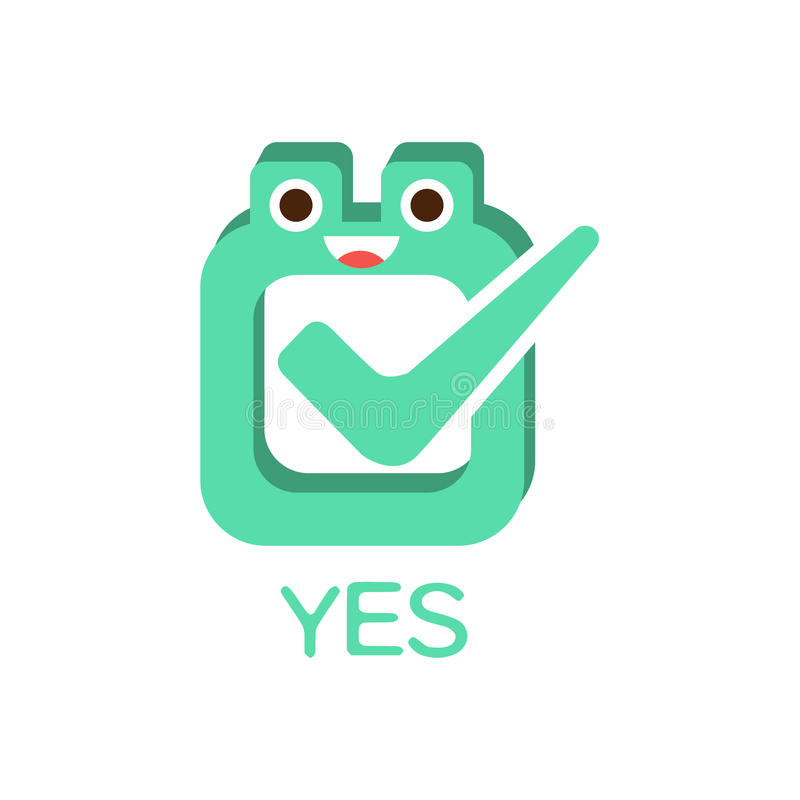Yes Vote And Box, Word And Corresponding Illustration, Cartoon Character Emoji With Eyes Illustrating The Text. Primitive Symbol Emoticon For Messages Flat royalty free illustration