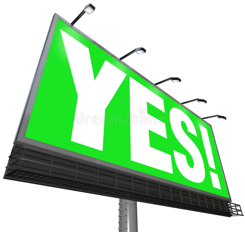 Yes Word Billboard Green Sign Approval Acceptance Answer stock illustration