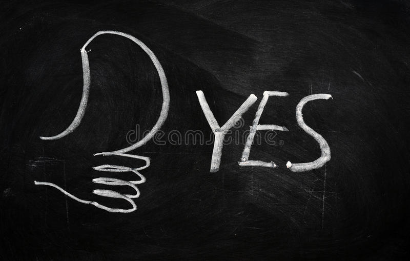 Download YES written on blackboard stock image. Image of expressing - 22486851