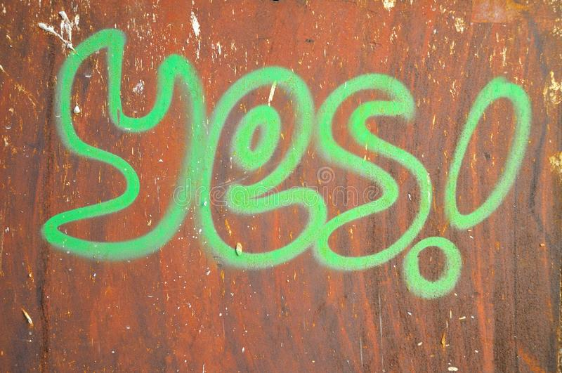Download Yes Wrote  On Rusty Brown Background Stock Image - Image: 32915577