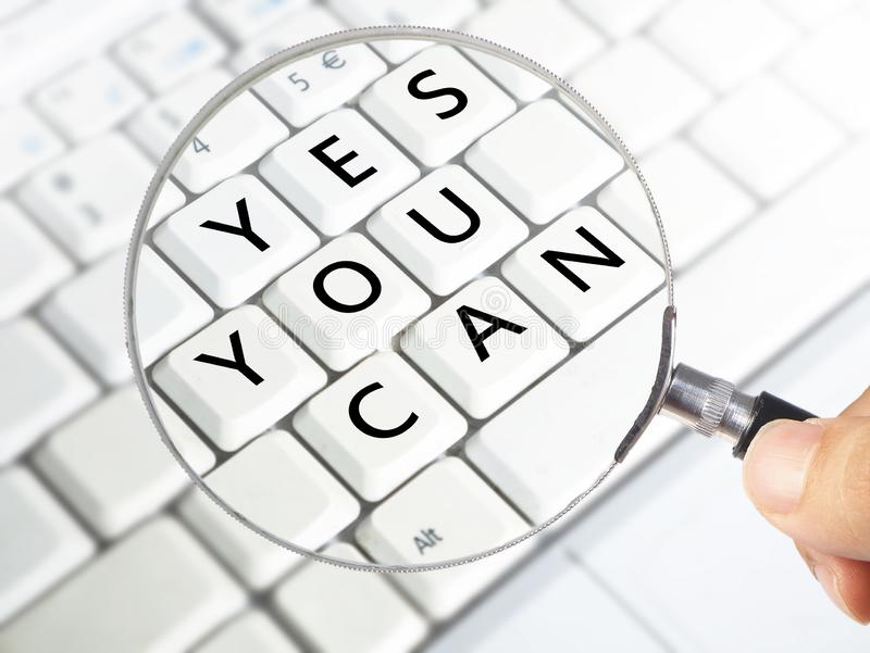 Yes You Can, Motivational Inspirational Quotes royalty free stock photos