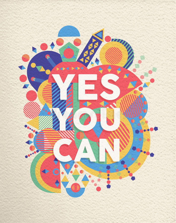 Free Yes You Can Quote Poster Design Royalty Free Stock Photos - 47550538