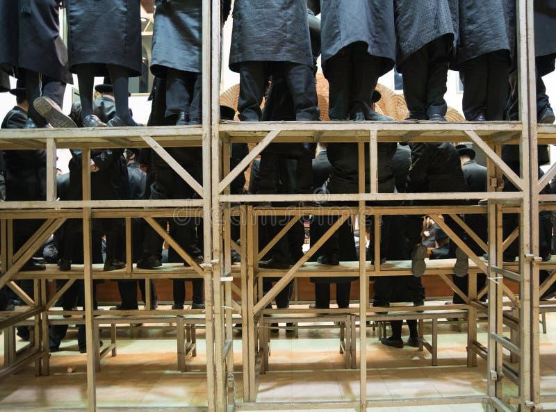 Yeshiva Jews Praying. Back view stock photos