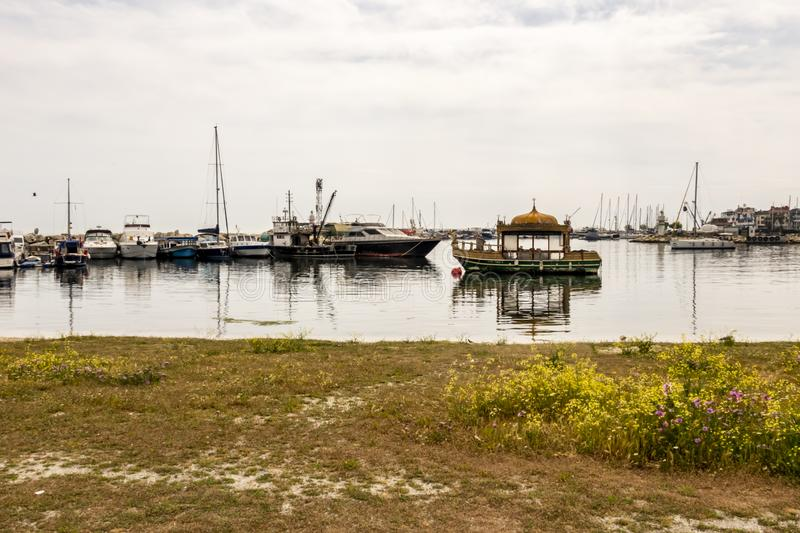 Seascape and boats at yesilkoy town sea side in istanbul. royalty free stock photo