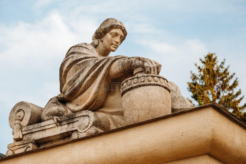 Yessentuki, Stavropol Territory / Russia - May 14, 2018 : Semashko mud baths. sculpture ancient Greek goddess of cleanliness and stock photography