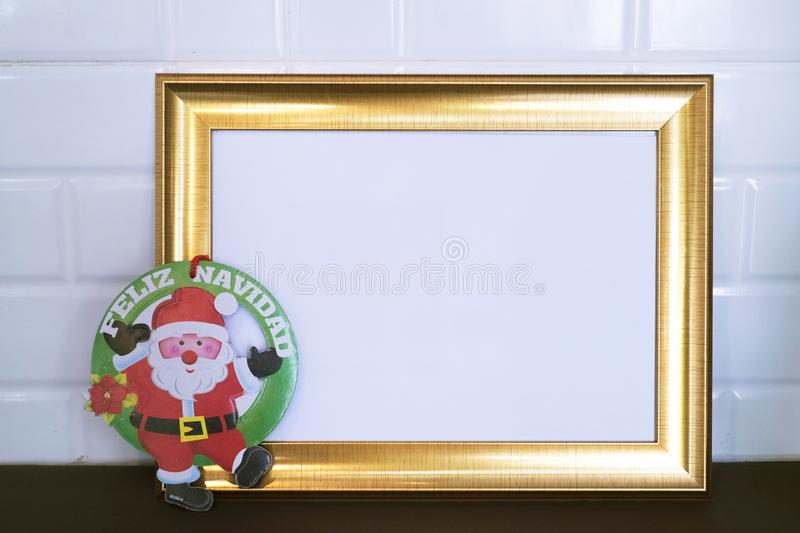 Santa Merry Christmas in Spanish language on white background. Yesterday,I visited a department store in town and devote a time to take this group of photos royalty free stock images