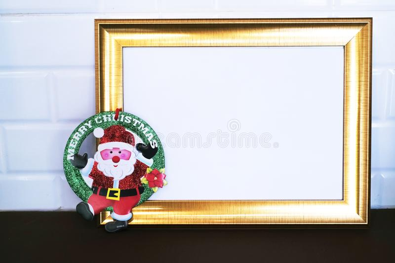Santa Merry Christmas on white background. Yesterday,I visited a department store in town and devote a time to take this group of photos royalty free stock photography