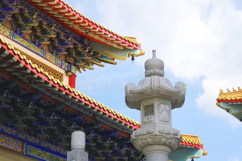 Colorful ceiling and roof of a Chinese temple. Yesterday I went to a beautiful Chinese temple far away from home and take pictures stock photos