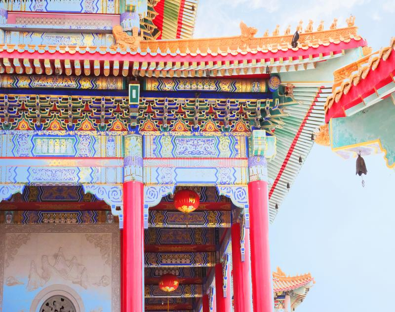 Colorful church under blue sky. Yesterday I went to a beautiful Chinese temple far away from home and take pictures royalty free stock photo
