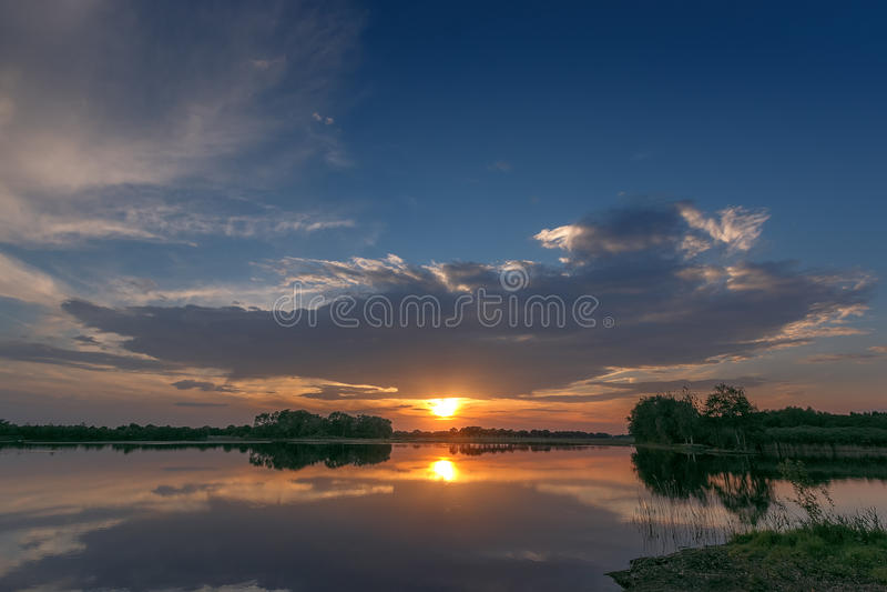Yesterday& x27;s sunset. Sunset in Nederweert, Netherlands royalty free stock photo
