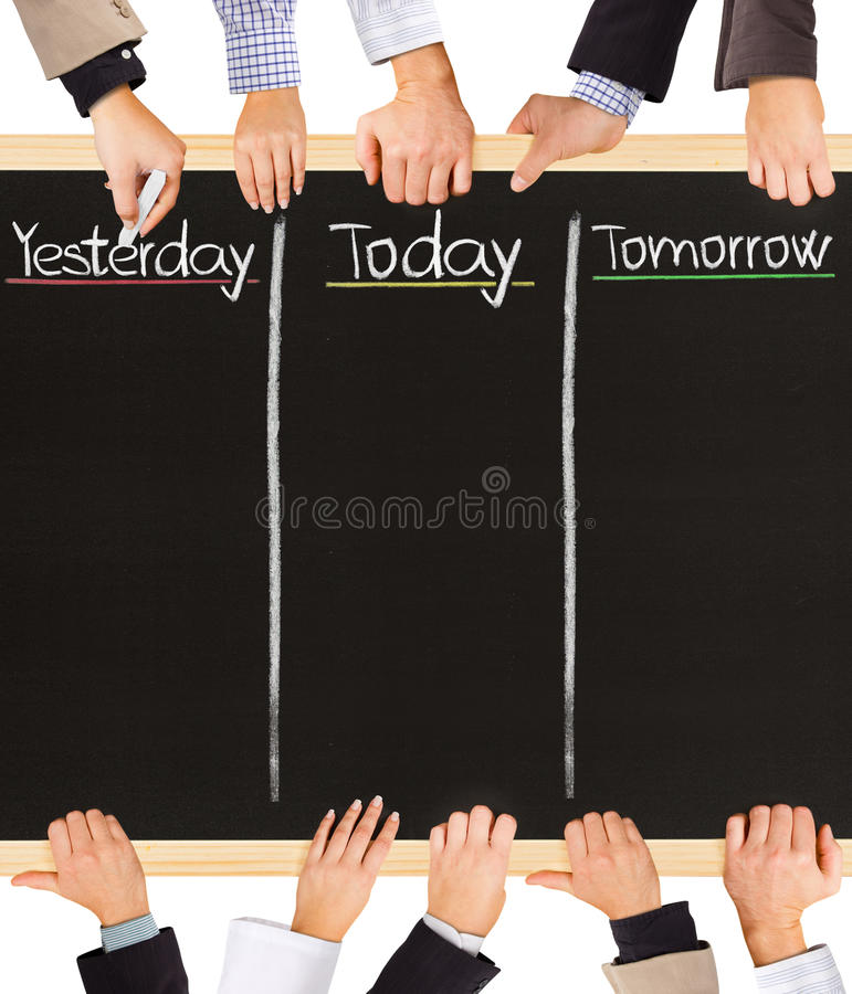 Yesterday, today, tomorrow. Photo of business hands holding blackboard and writing Yesterday, Today and Tomorrow royalty free stock photo