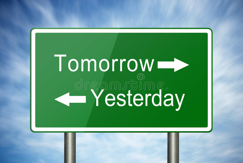 Yesterday and Tomorrow. A green road sign with text Tomorrow and Yesterday and arrows stock images