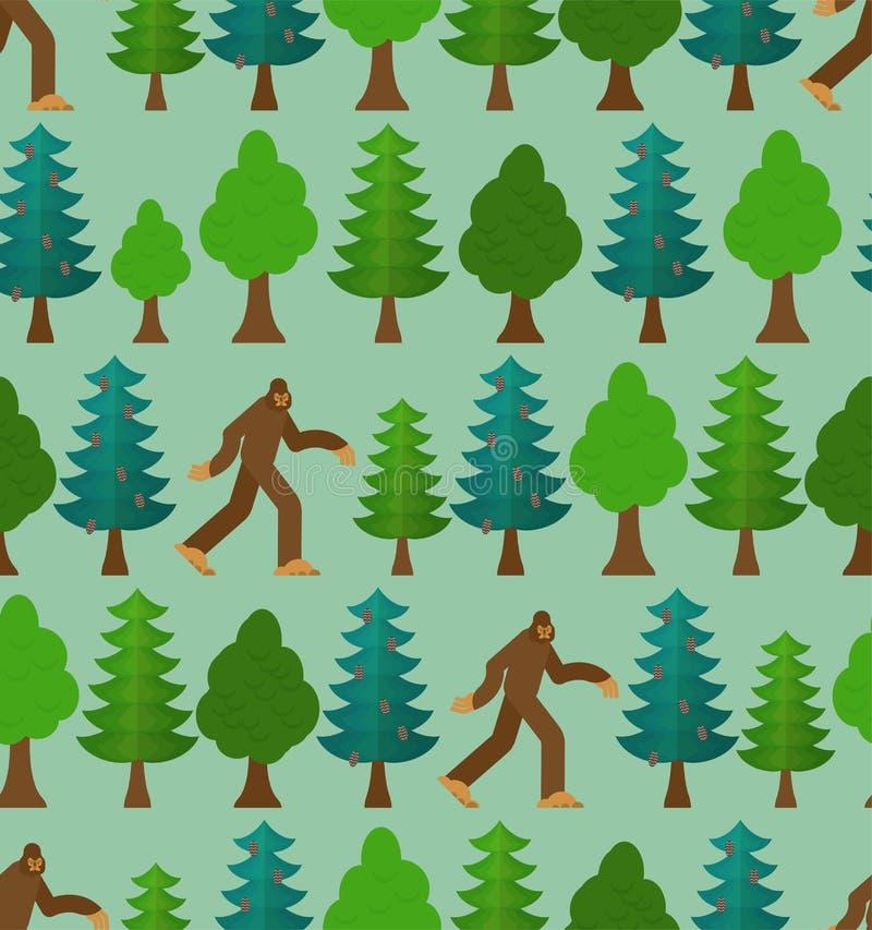 Yeti στο δασικό σχέδιο άνευ ραφής Bigfoot και υπόβαθρο δέντρων Αποτρόπαια διακόσμηση χιονανθρώπων sasquatch σύσταση διανυσματική απεικόνιση