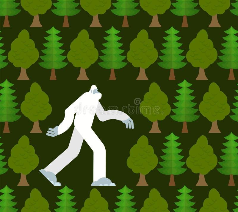 Yeti στο δασικό σχέδιο άνευ ραφής Bigfoot και υπόβαθρο δέντρων Αποτρόπαια διακόσμηση χιονανθρώπων sasquatch σύσταση απεικόνιση αποθεμάτων