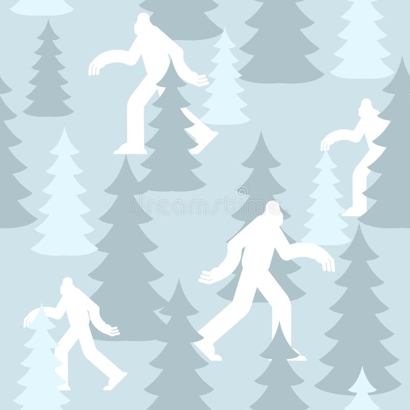 Yeti στο δασικό χειμερινό στρατιωτικό σχέδιο άσπρη σύσταση ιματισμού Bigfoot Μπλε υπόβαθρο στρατού sasquatch προστατευτικός στρατ απεικόνιση αποθεμάτων