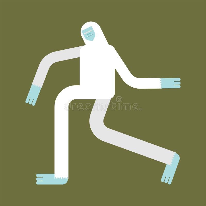 Yeti aislado El caminar de Bigfoot Ejemplo del vector del hombre de la nieve sasquatch stock de ilustración