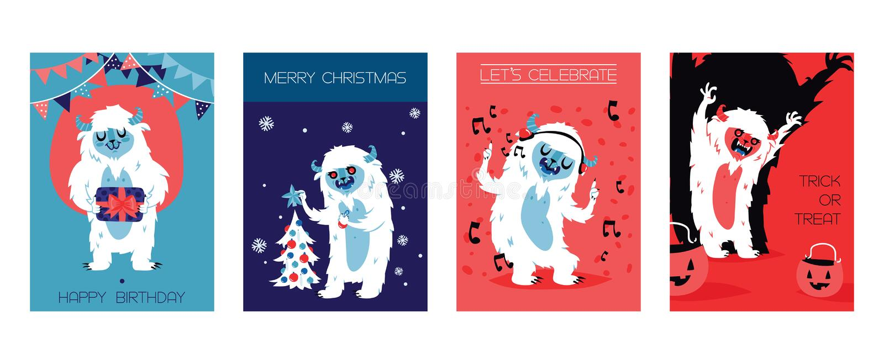 Yeti Bigfoot charakterów karty dla urodziny, boże narodzenia, Halloween również zwrócić corel ilustracji wektora Pozwala s święto ilustracja wektor