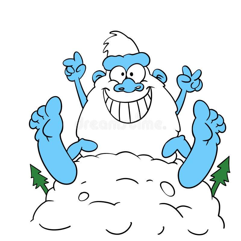 Yeti, die im großen Schnee im Winter spielen vektor abbildung