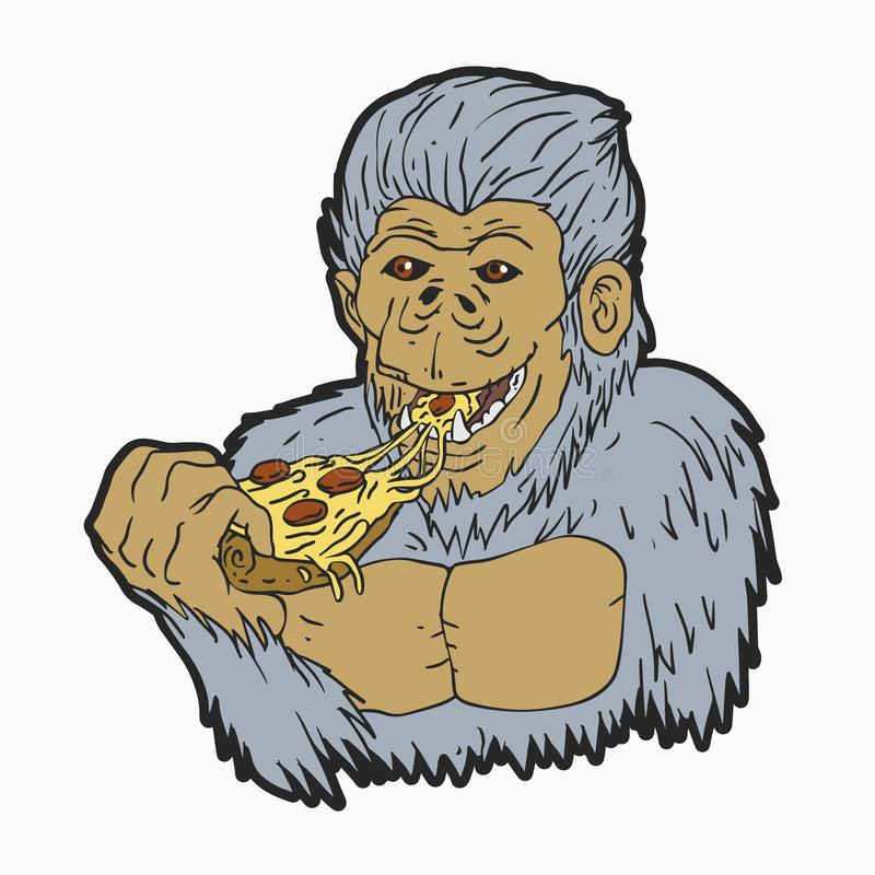 Yeti die pizza eten stock illustratie