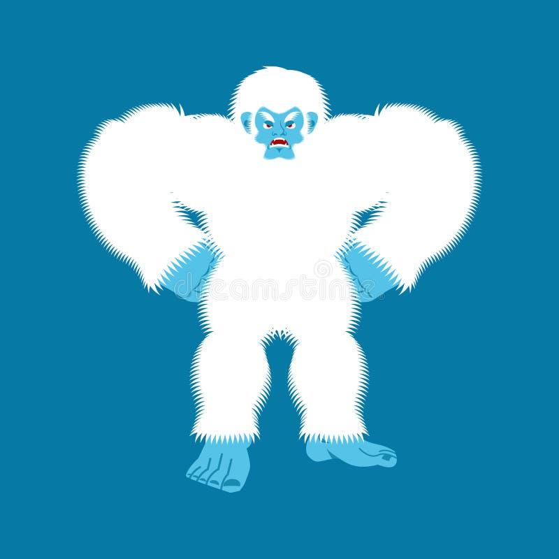 Yeti enojado Mal de Bigfoot Muñeco de nieve abominable agresivo Vector libre illustration