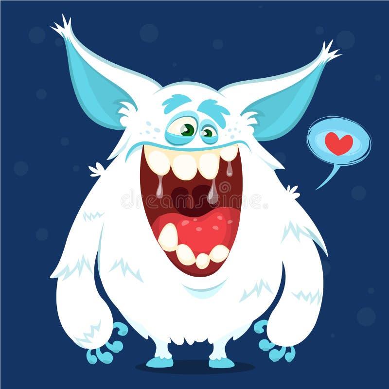 Yeti lindo del monstruo de la historieta Carácter de Bigfoot del vector para Halloween stock de ilustración