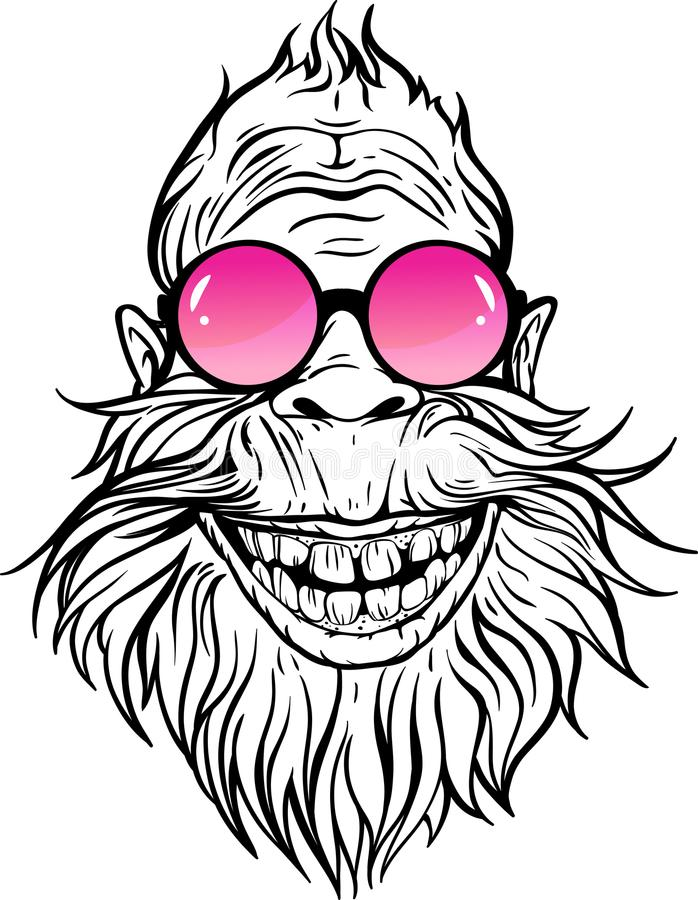 Yeti in roze ronde zonnebril stock illustratie