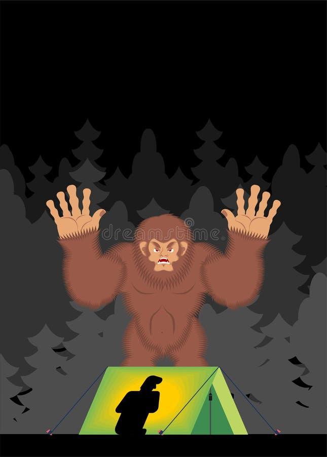 Yeti w lasów strachów mężczyźnie w namiocie Bigfoot i turysta ilustracji